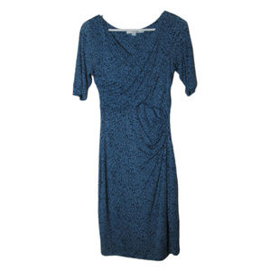 Boden blue polka dot faux wrap dress ruched